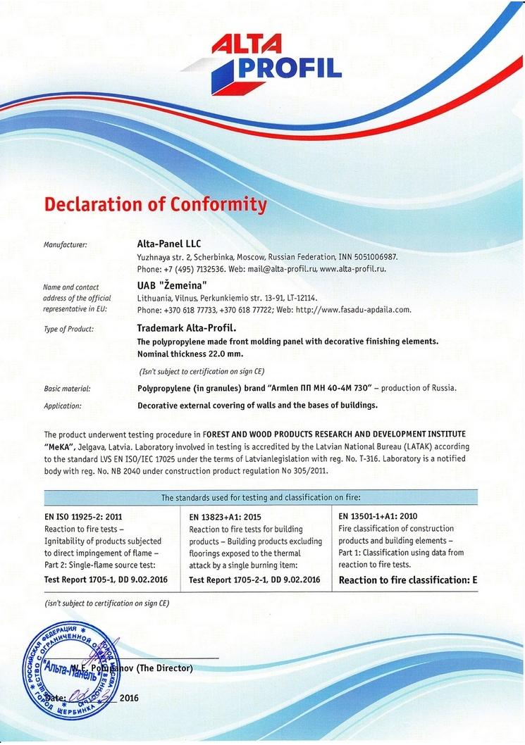 Certifications Guarantees For Alta Profil Siding Panels Uab Emeina